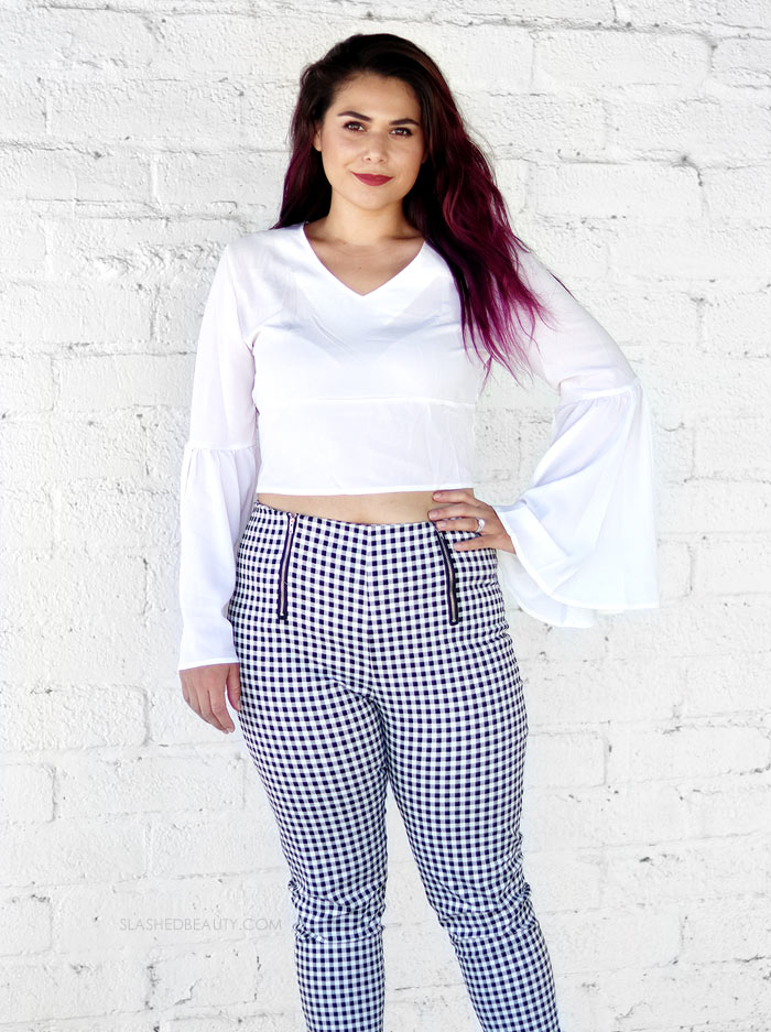 2018 Zaful Haul & Review Size 8 Woman. Transition to Fall outfit featuring high waisted gingham pants and a white bell sleeve flare blouse. | Slashed Beauty