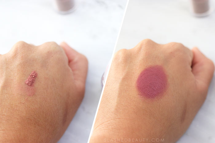 The new L'Oreal Infallible Magic Pigments have a powder-to-cream formula for the eyes and lips. See how they work! Swatch of Instant Crush | Slashed Beauty