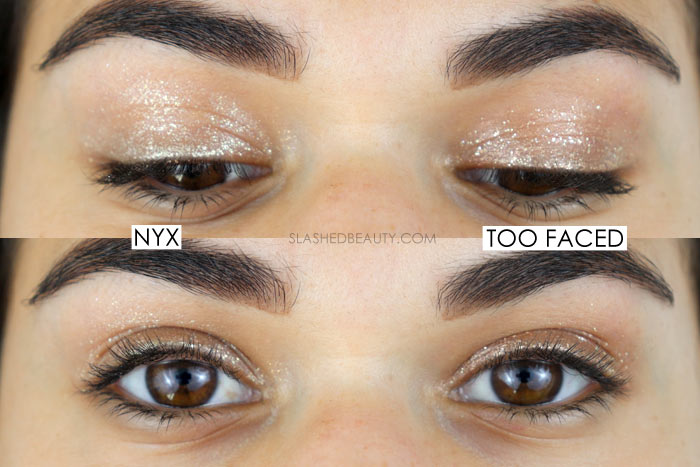 Drugstore Dupe of Too Faced Tutti Frutti Twinkle Twinkle Liquid Glitter Eyeshadow? Compare it to the NYX Glitter Goals Eyeshadow | Slashed Beauty