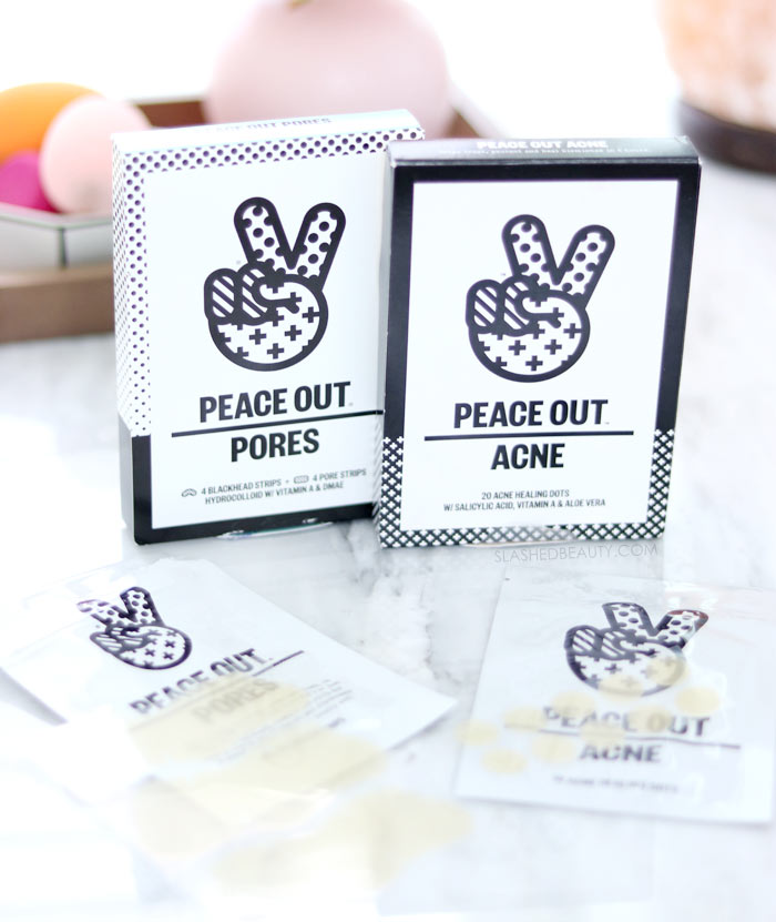 Peace Out Acne Healing Dots and Pore Treatment Strips use hydrocolloid technology to draw out impurities, heal blemishes and prevent blackheads. Check out how it works! | Slashed Beauty
