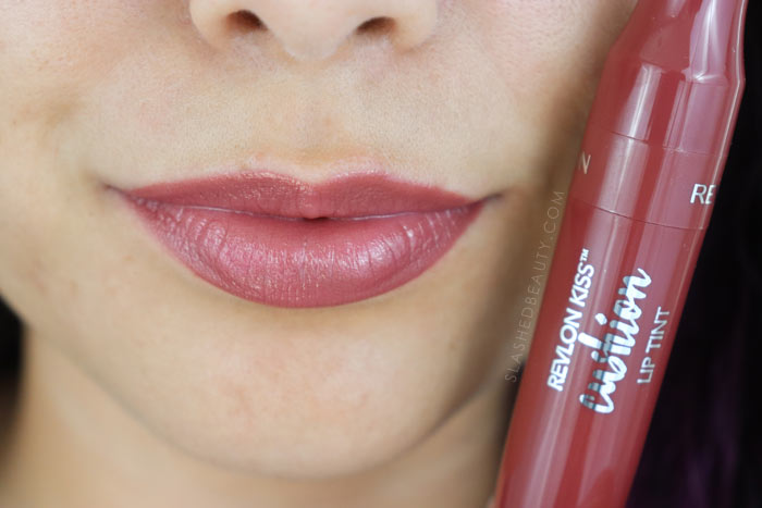 Revlon Kiss Cushion Lip Tints Review and Lip Swatches - Fancy Rose | Slashed Beauty