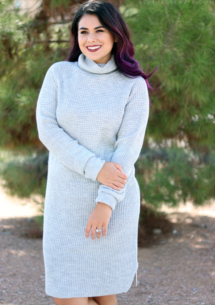 Fall Fashion Haul: Kroger dip Clothing Review | Slashed Beauty | Chunky Knit Sweater Dress