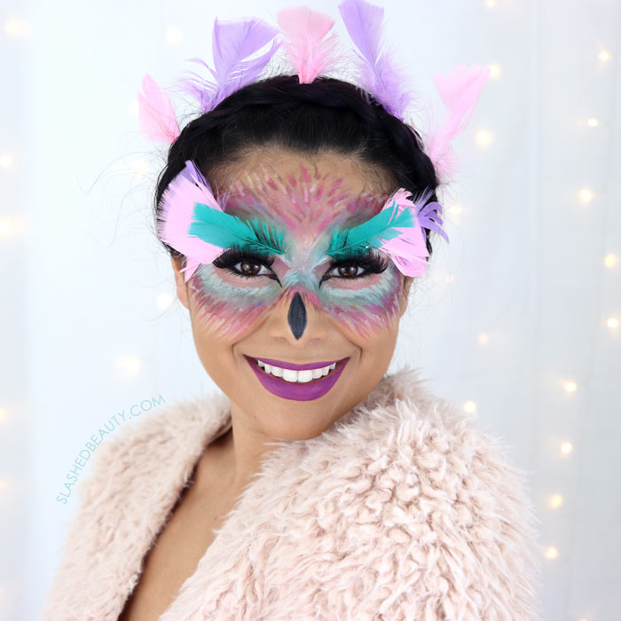 Easy Fantasy Owl Halloween Makeup Tutorial with Drugstore Makeup   Slashed Beauty