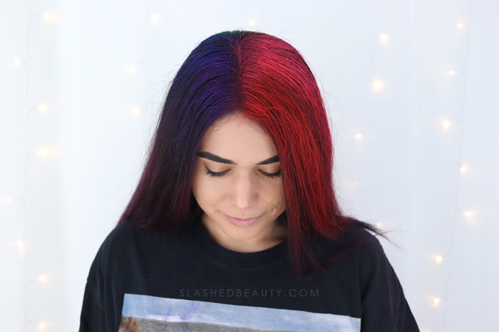 Best temporary hair color spray for dark hair: Manic Panic Amplified Temporary Hair Color Spray Review with before and after | Slashed Beauty