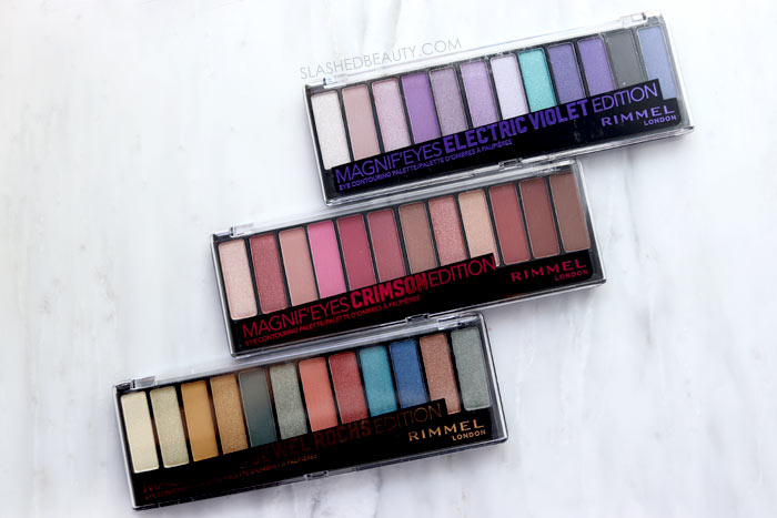 Review and Swatches of new Rimmel Magnif'eyes Eyeshadow Palettes in Crimson, Electric Violet and Jewel Rocks | Slashed Beauty
