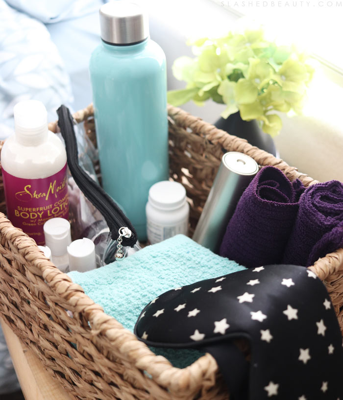 How to Prep a Small Guest Bedroom for the Holidays: Guest Bedroom Welcome Basket | Slashed Beauty