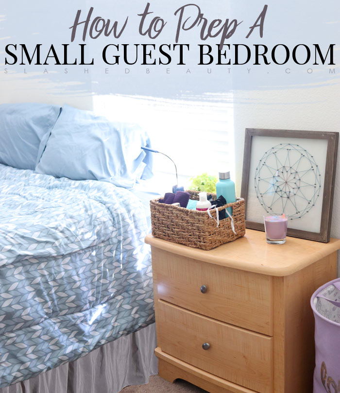 5 Ways to Prep A Small Guest Bedroom for the Holidays: Tips to make a small guest bedroom more inviting. | Slashed Beauty
