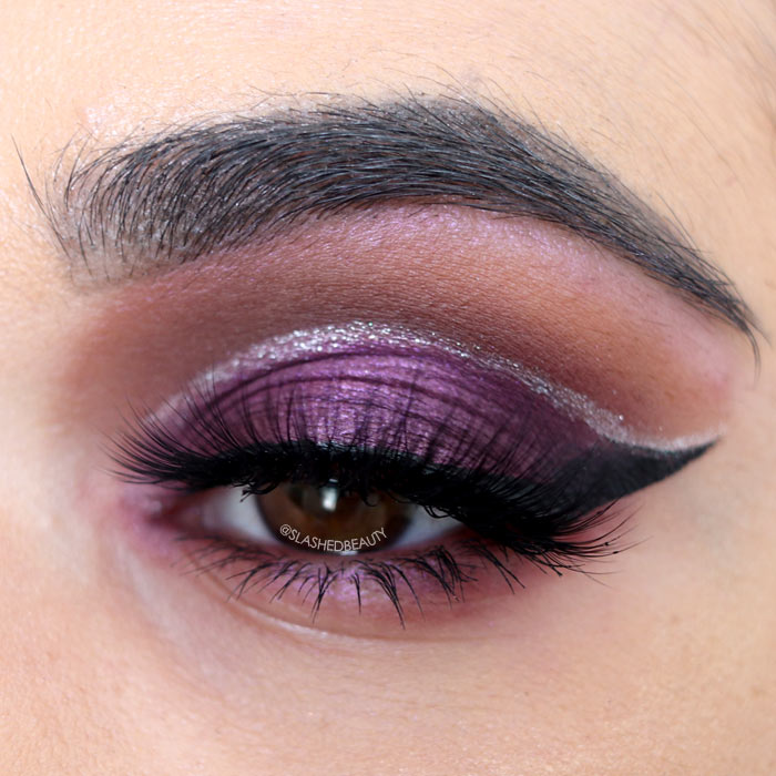Purple Glitter Cut Crease Makeup Tutorial For New Years Slashed Beauty