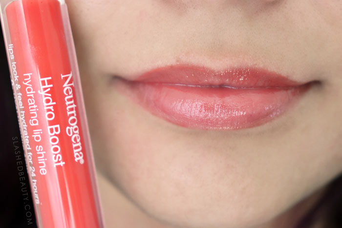 Best Lip Color for Dry Lips: Neutrogena Hydro Boost Hydrating Lip Shines BRIGHT POPPY Review & Swatches | Slashed Beauty