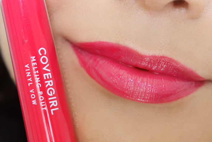 Covergirl Melting Pout Vinyl Vow Lipgloss Review and Lip Swatches : Vibrant Thingv| Slashed Beauty