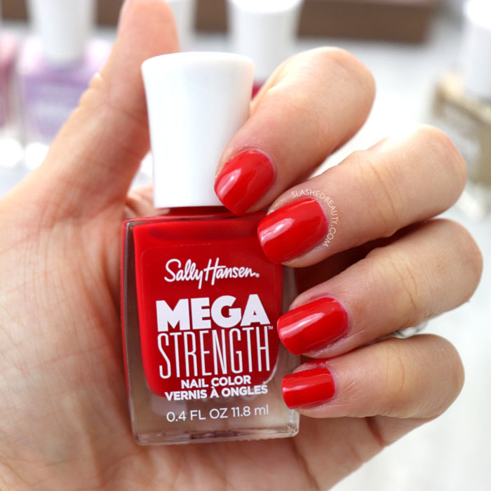 REVIEW & SWATCHES: Sally Hansen Mega Strength Nail Colors - Class Act   Slashed Beauty