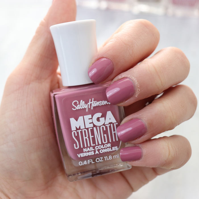 REVIEW & SWATCHES: Sally Hansen Mega Strength Nail Colors - She-Ro | Slashed Beauty