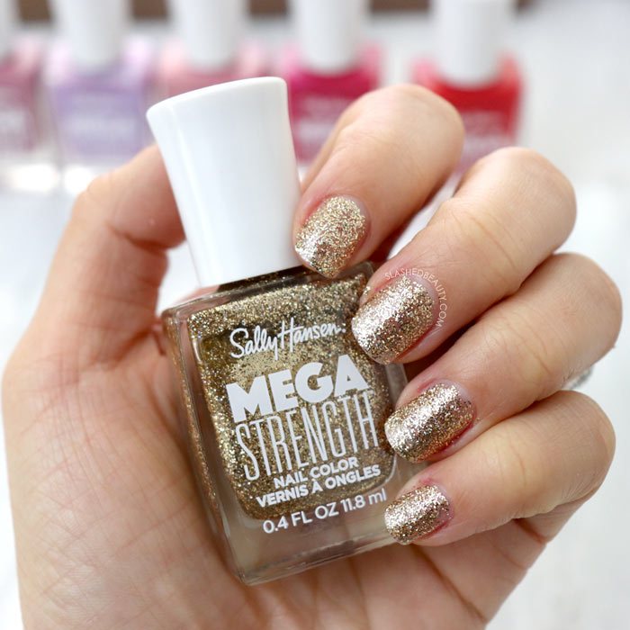 REVIEW & SWATCHES: Sally Hansen Mega Strength Nail Colors - Wild Card   Slashed Beauty