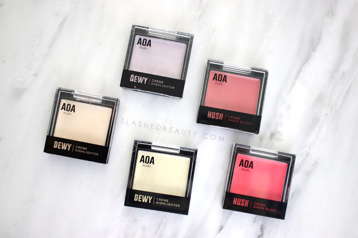AOA Hush Cream Blush & Dewy Highlighter Review/Swatches | Shop Miss A Haul & Review of AOA Studio Makeup Spring 2019 | Slashed Beauty