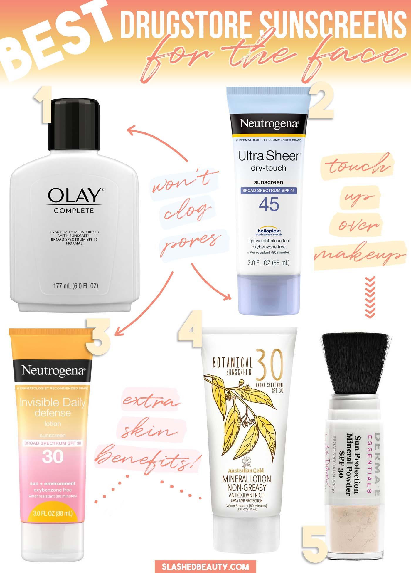5 Best Drugstore Face Sunscreens | Slashed Beauty