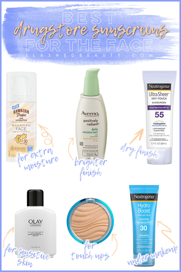 6 Best Drugstore Sunscreens for the Face to use Under Makeup or Alone | Slashed Beauty