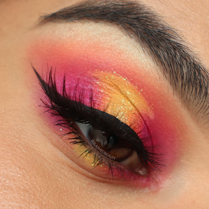 Bright Cut Crease Makeup using BH Cosmetics Take Me Back to Brazil Palette | Pink & Yellow Halo Eye | Slashed Beauty