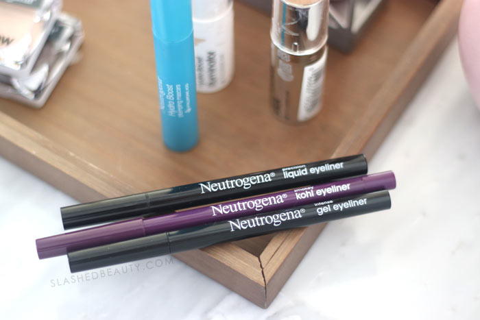 New Drugstore Makeup from Neutrogena: Precision Liquid Eyeliner, Kohl Eyeliner, Intense Gel Eyeliner Review & Swatches | Slashed Beauty