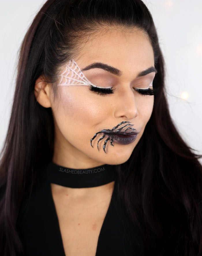 Easy Halloween Makeup Idea Spider Mouth