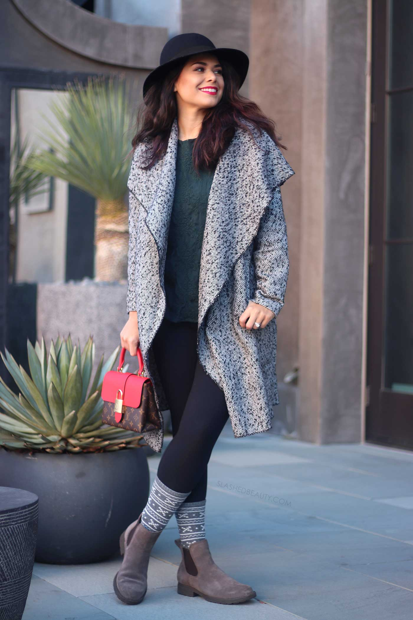 Winter Outfit Staples That Match Everything | Open Tweed Jacket | Louis Vuitton Locky BB Mod Shot | Slashed Beauty