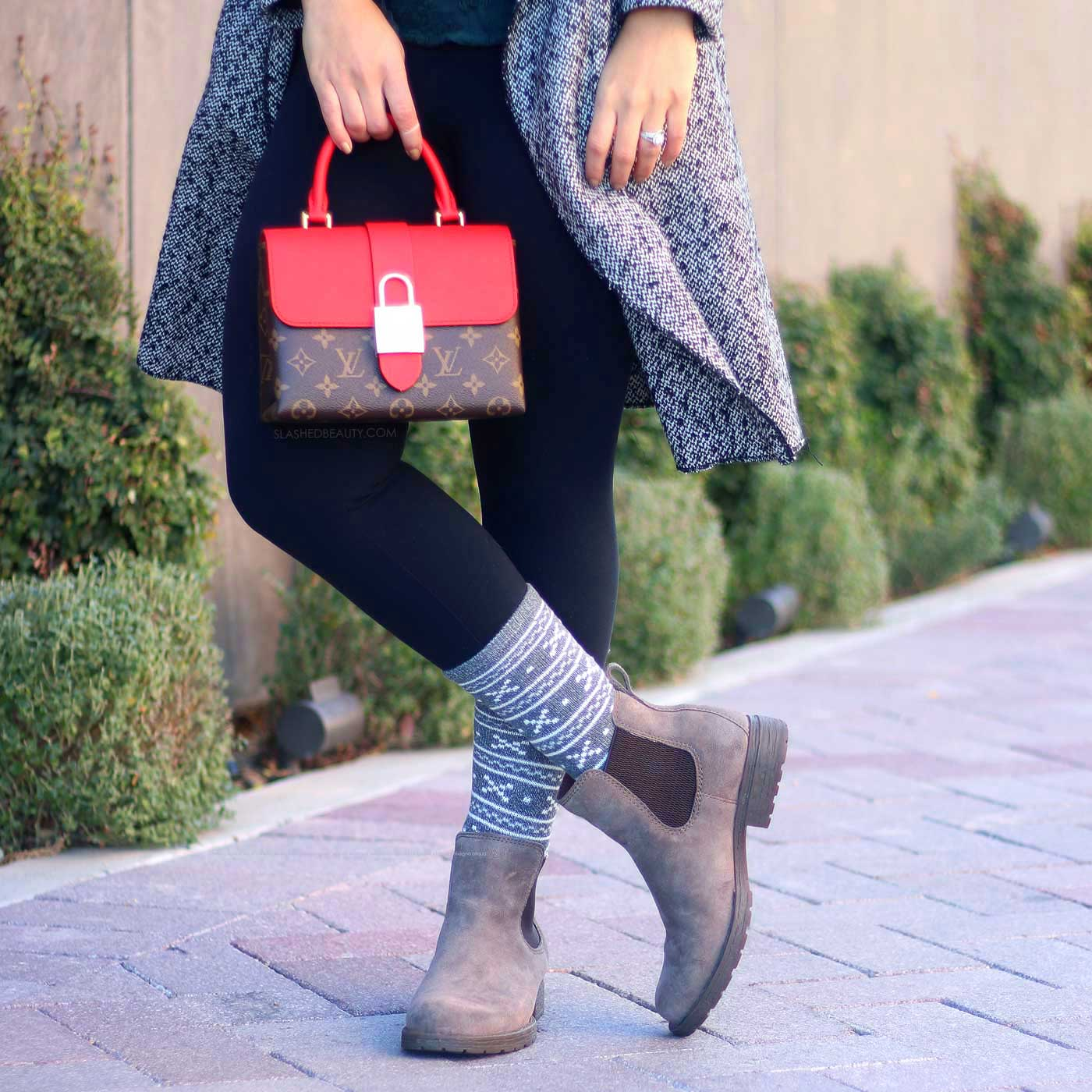 Winter Outfit Ideas | Louis Vuitton Locky BB Mod Shot | Born Cove Chelsea Block Heel Booties | Slashed Beauty