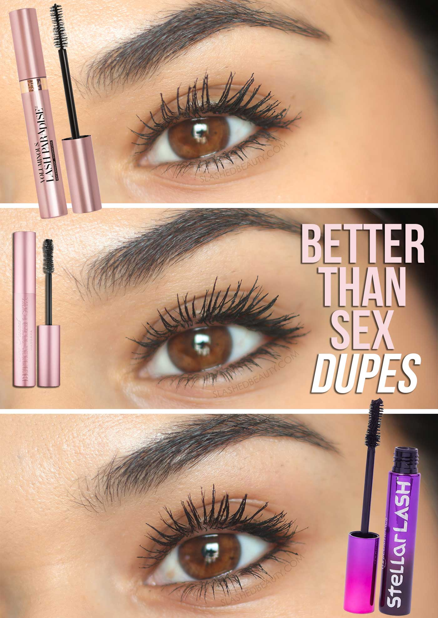 Two Drugstore Dupes for Too Faced Better Than Sex Mascara | Better Than Sex Mascara Dupes | Slashed Beauty