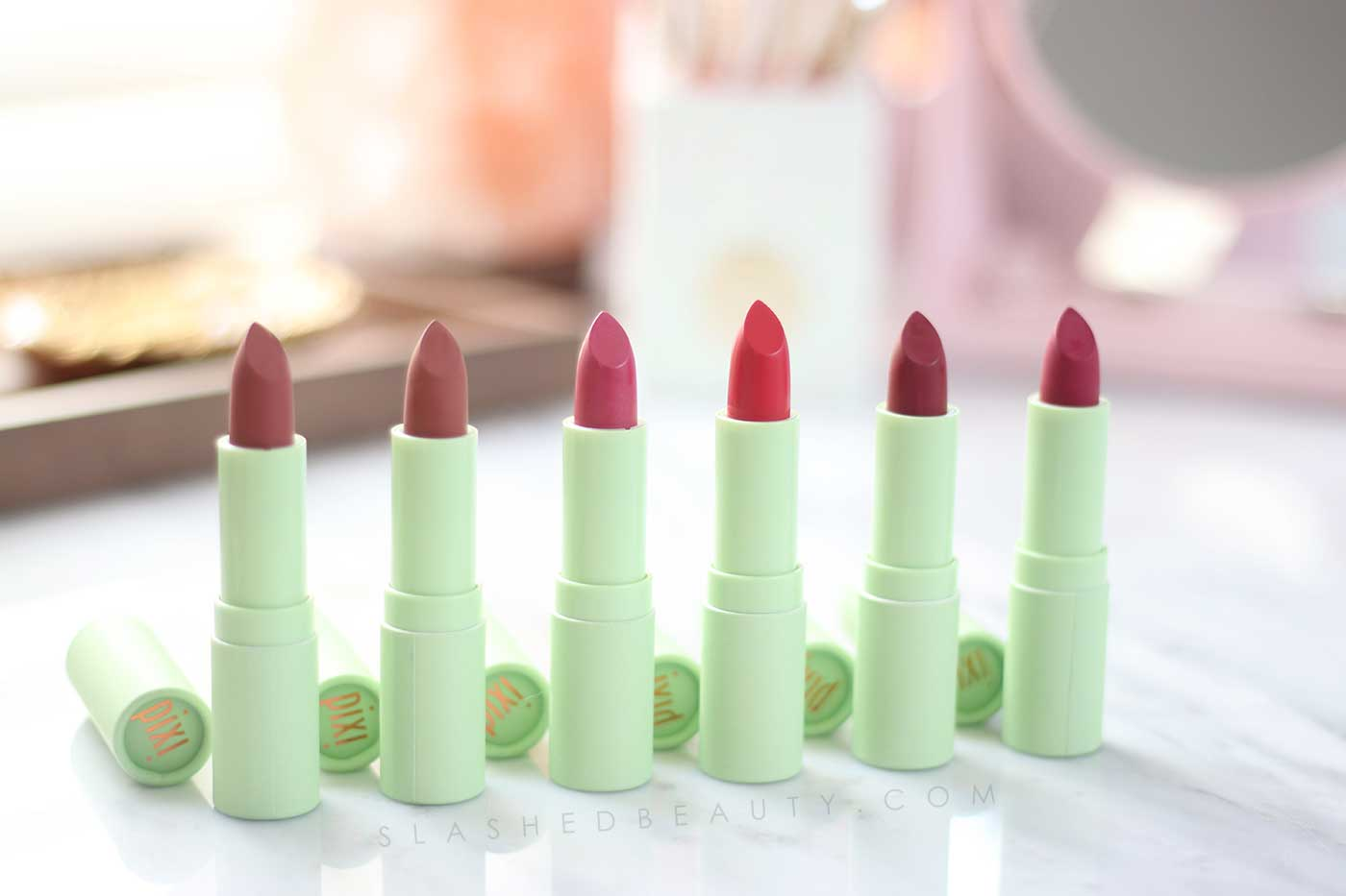 Moisturizing Lipsticks that Last! Pixi Naturellelips Review and Swatches | Slashed Beauty