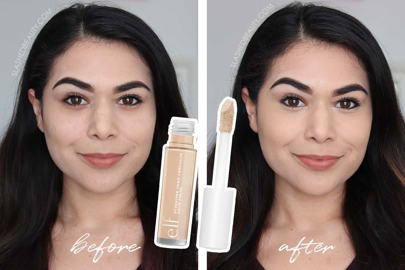 e.l.f. Hydrating Camo Concealer Review & Swatches | Before & After using e.l.f. Hydrating Camo Concealer on undereyes | Slashed Beauty