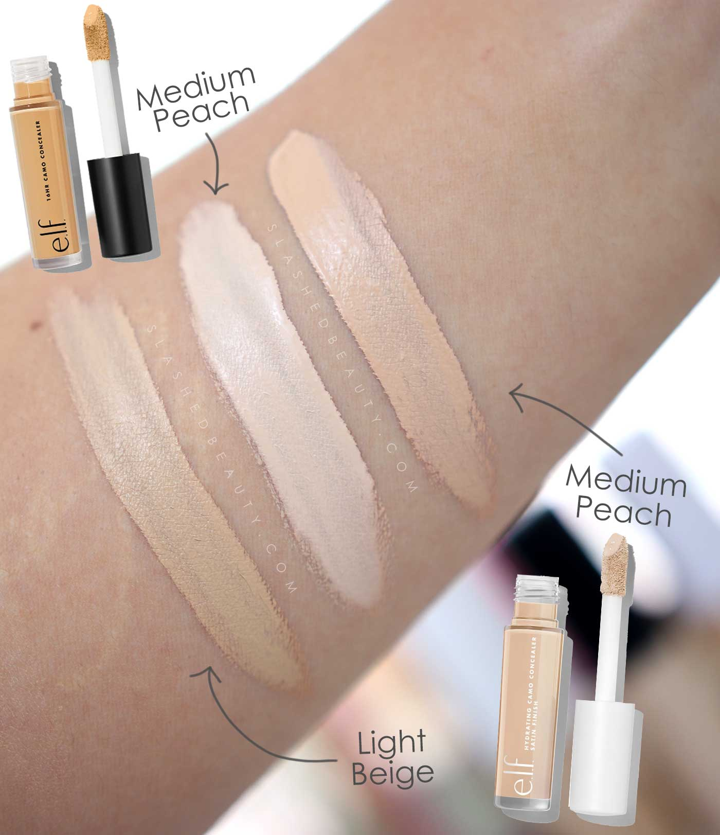 e.l.f. Hydrating Camo Concealer Review & Swatches | e.l.f. Camo Concealer Shade Comparison Medium Peach | Slashed Beauty