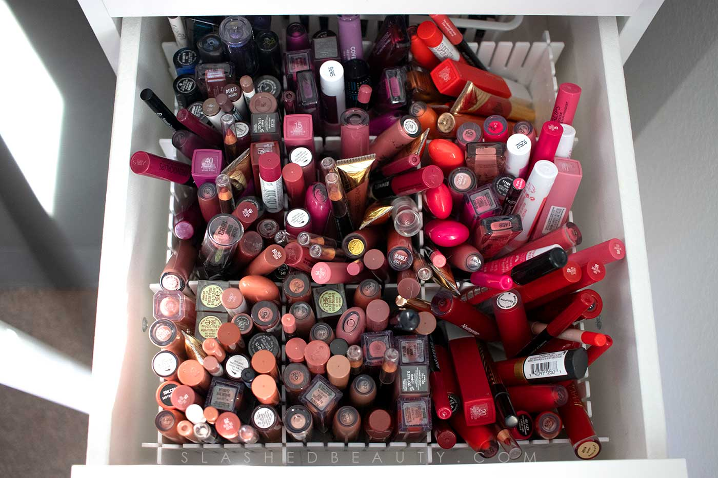Best Cheap Lipstick Drawer Organization | How to organize your makeup collection | Slashed Beauty