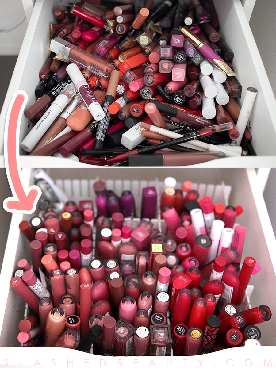 Best Cheap Lipstick Drawer Organization | How to organize your lipstick drawer and makeup collection | Slashed Beauty
