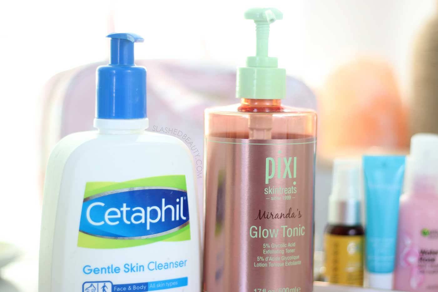 Cetaphil Gentle Skin Cleanser & Pixi Glow Tonic | Best Drugstore Skin Care for Acne Prone Skin | Slashed Beauty