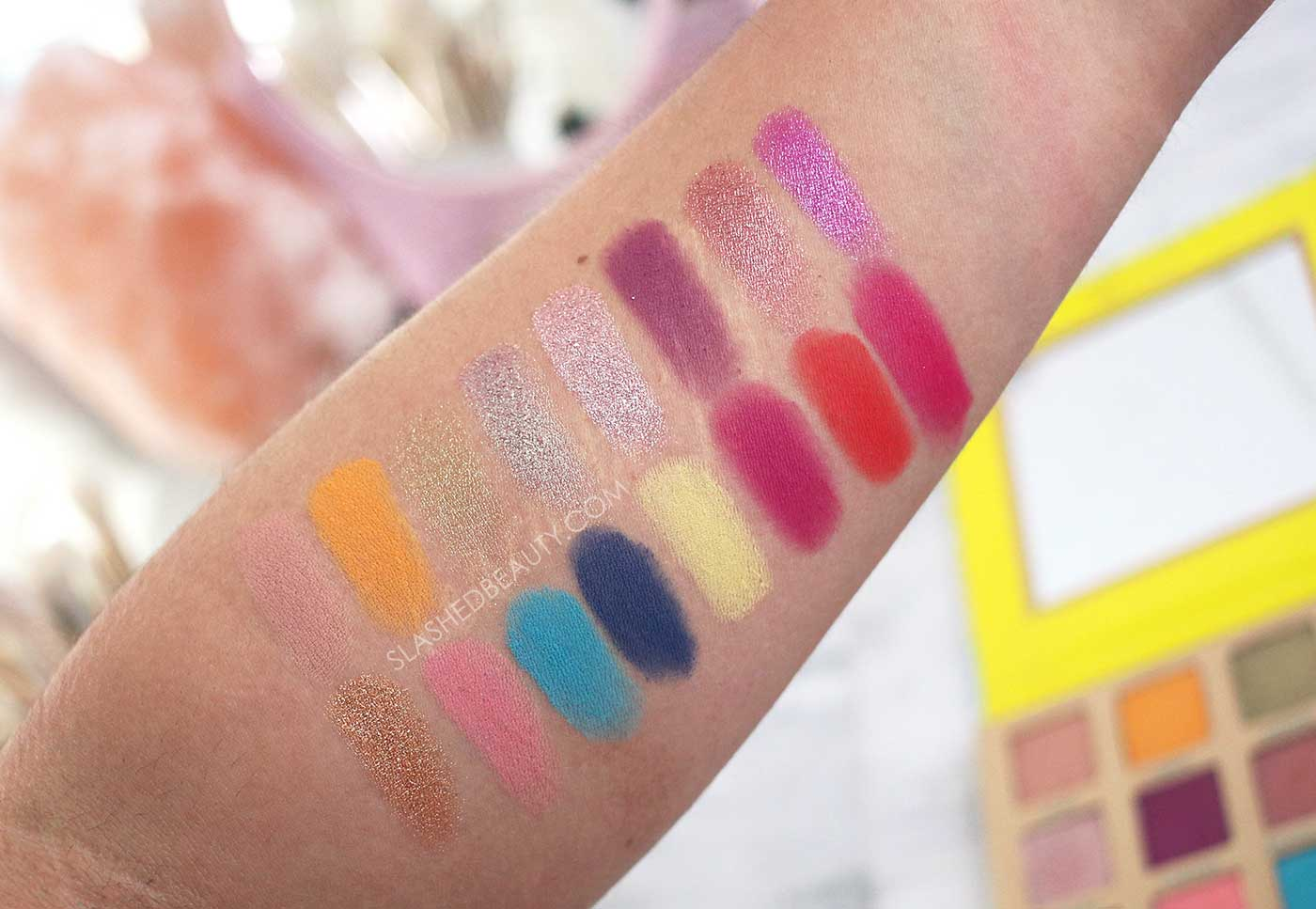 BH Cosmetics Summer in St. Tropez Palette Swatches | Bright Spring Summer Eyeshadow Palette | Slashed Beauty