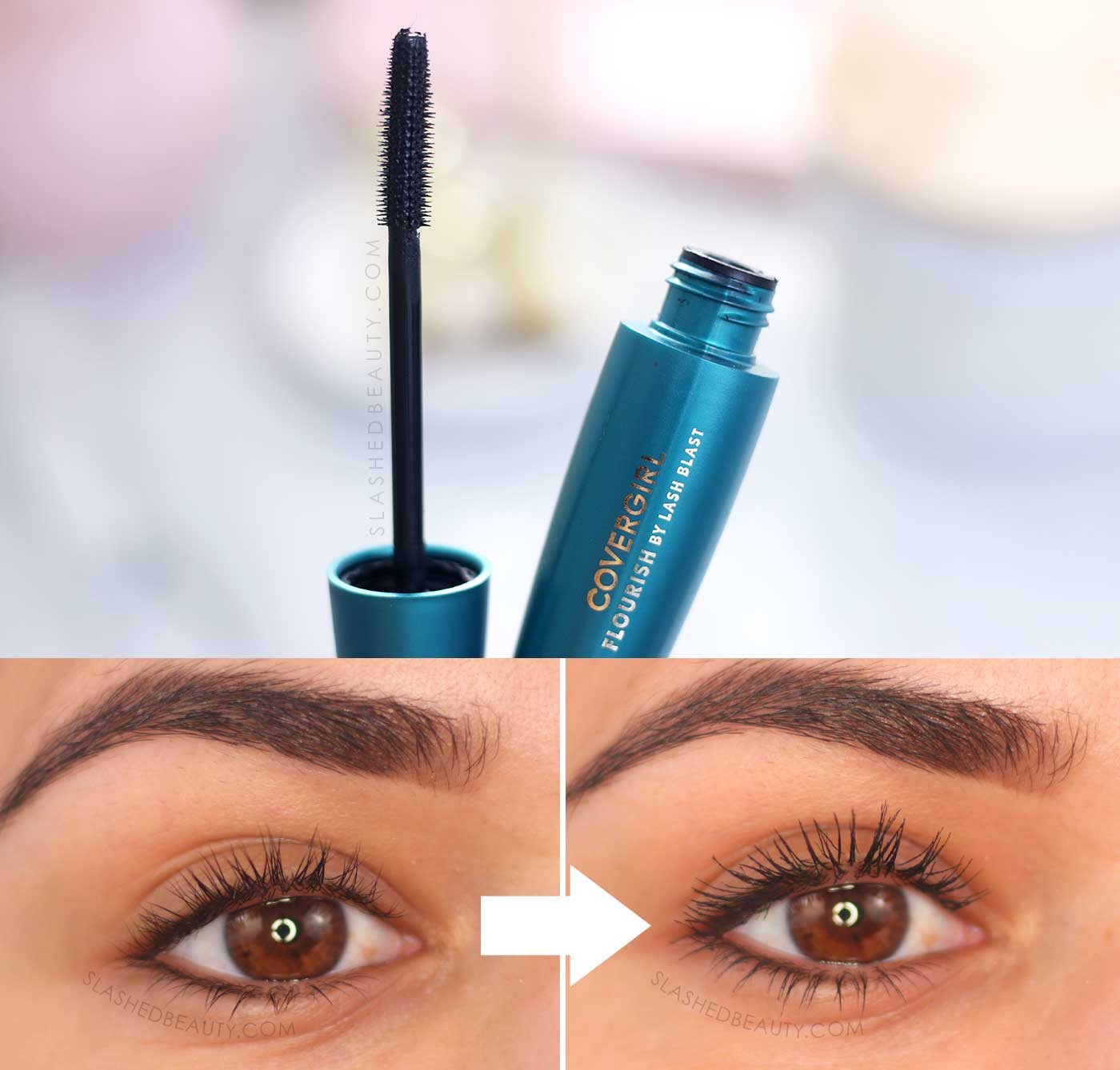 Covergirl Flourish by Lash Blast Before & After Review | 5 Best Drugstore Mascaras in 2020 | Slashed Beauty