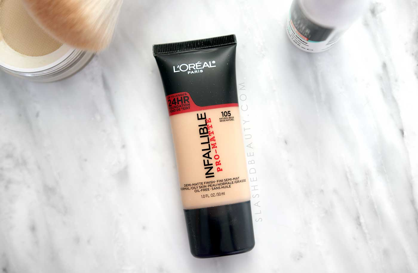 Best Foundation for Under a Face Mask: L'Oreal Infallible Pro-Matte Liquid Longwear Foundation | How to Keep Makeup On Under a Face Mask | Slashed Beauty