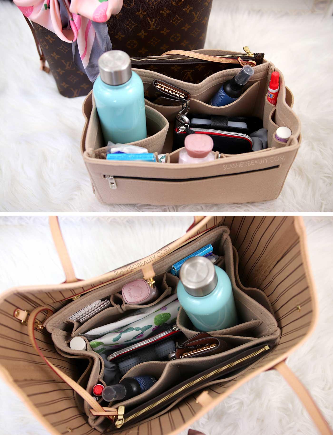 Best Handbag Organizer Insert for Louis Vuitton Neverfull | 5 Affordable Handbag Accessories for the Louis Vuitton Neverfull | Slashed Beauty