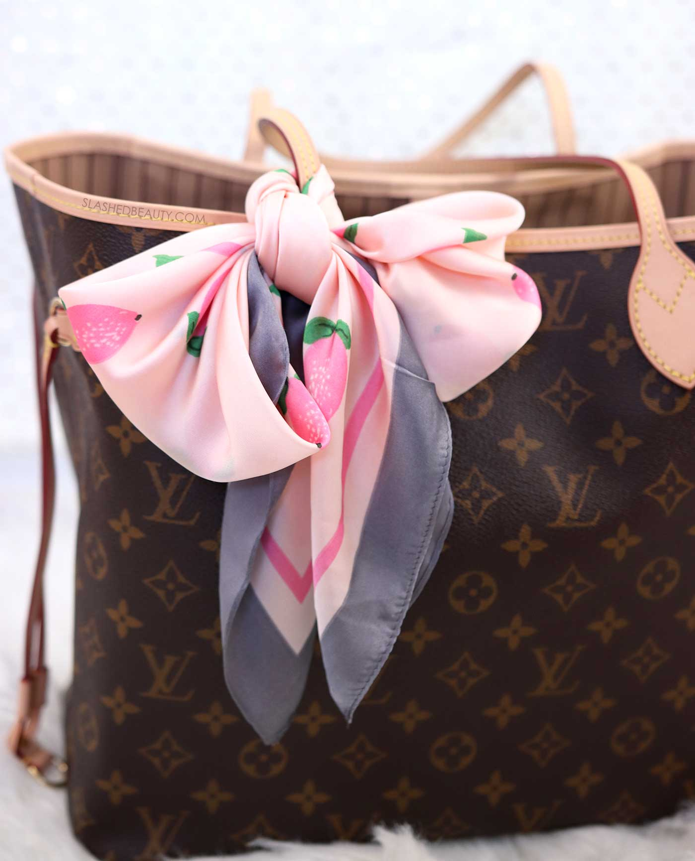 Cute Handbag Scarf for Neverfull | 5 Affordable Handbag Accessories for the Louis Vuitton Neverfull | Slashed Beauty