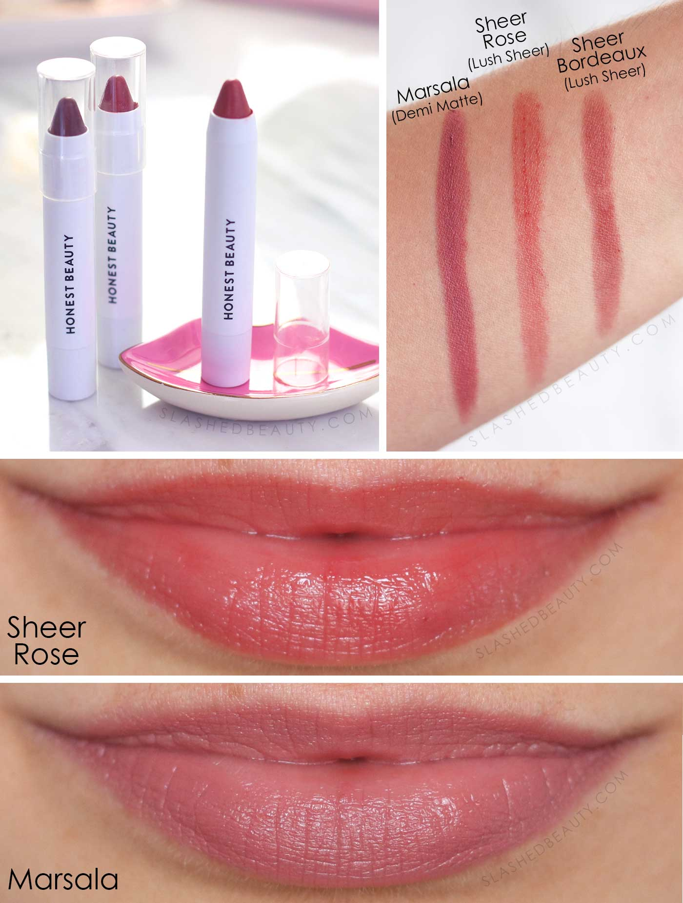 Honest Beauty Lip Crayon Swatches | Marsala, Sheer Rose, Sheer Bordeaux | 5 Best Drugstore Tinted Lip Balms | Slashed Beauty