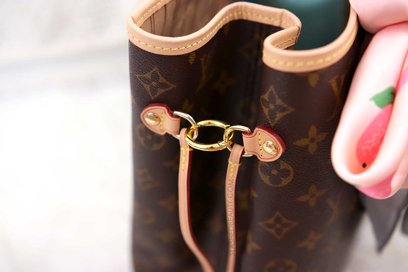 How to keep the Neverfull cinched with small rings | 5 Affordable Handbag Accessories for the Louis Vuitton Neverfull | Slashed Beauty