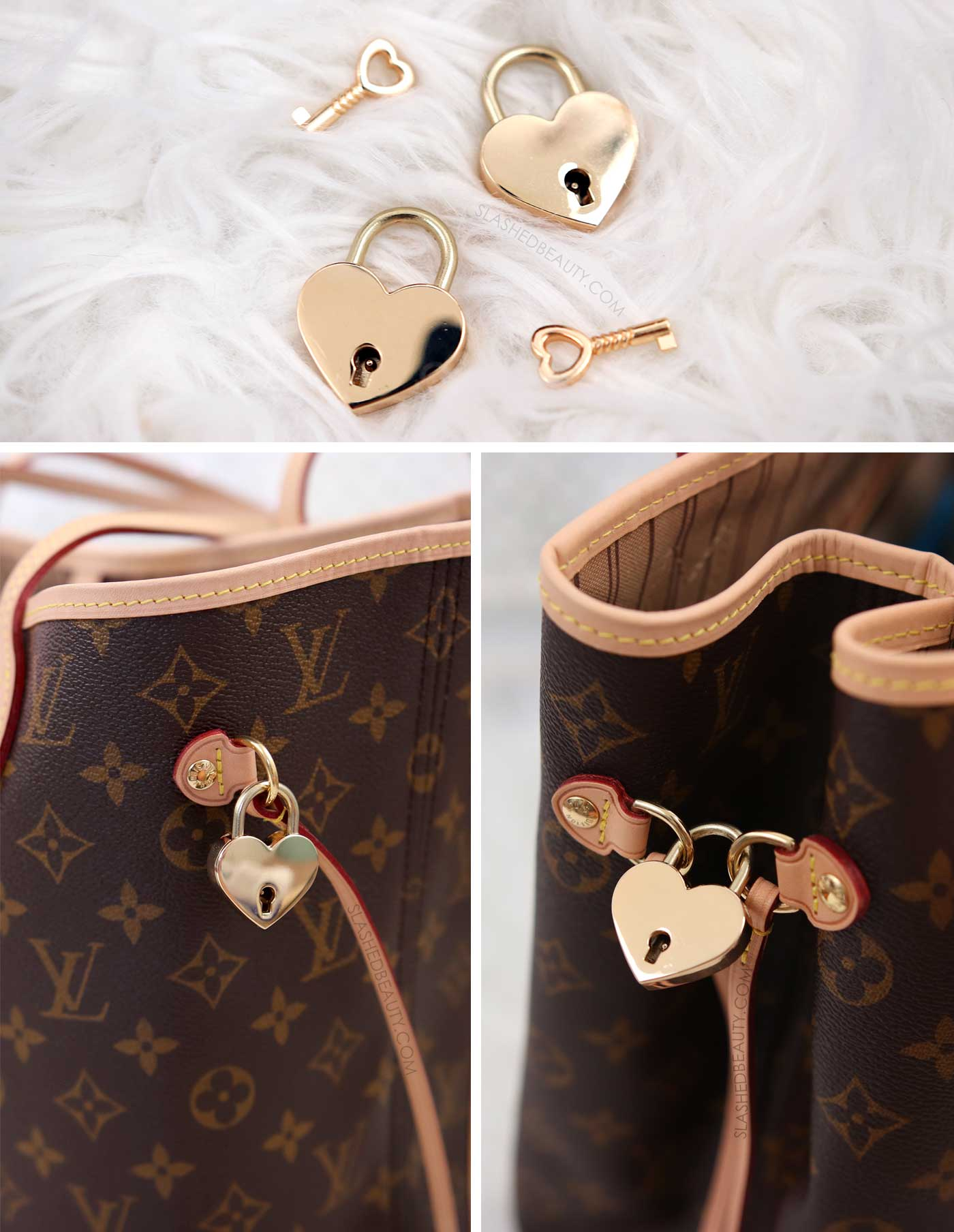 How to keep the Neverfull cinched with mini heart padlocks | 5 Affordable Handbag Accessories for the Louis Vuitton Neverfull | Slashed Beauty
