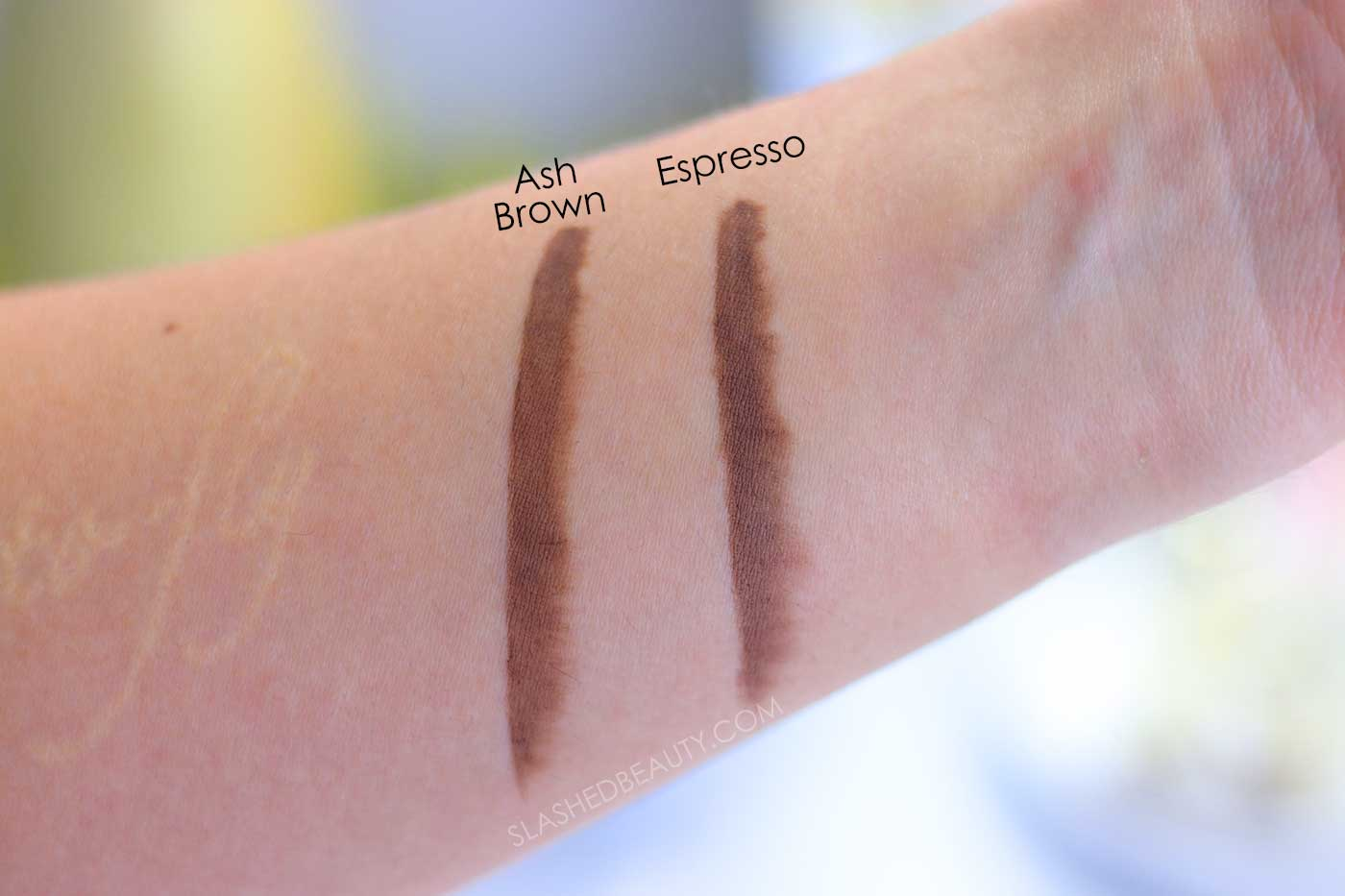NYX Dip, Shape, Go! Brow Pomade Swatches: Ash Brown & Espresso | Slashed Beauty