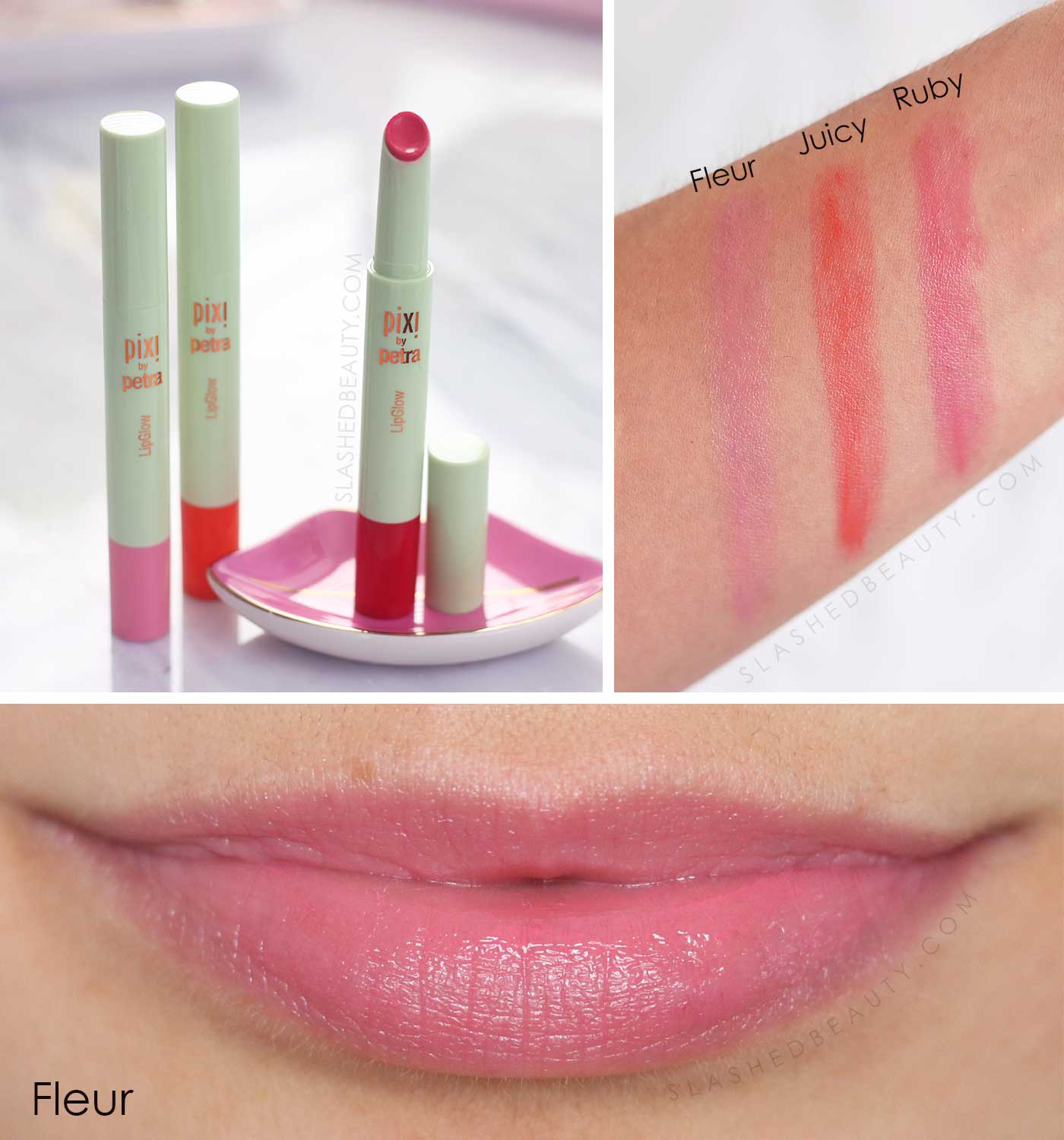 Pixi Lip Glow Swatches | Fleur, Juicy, Ruby | 5 Best Drugstore Tinted Lip Balms | Slashed Beauty