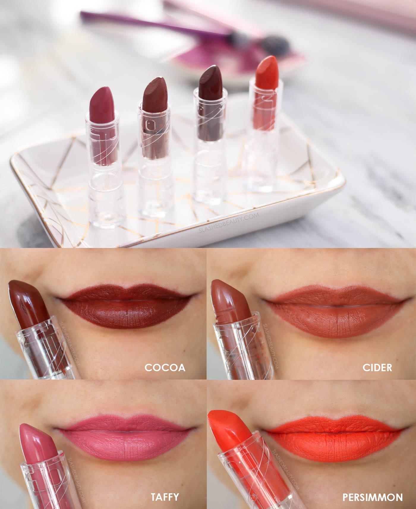 e.l.f. SRSLY Satin Lipsticks Swatches   Cocoa, Cider, Taffy, Persimmon   Slashed Beauty