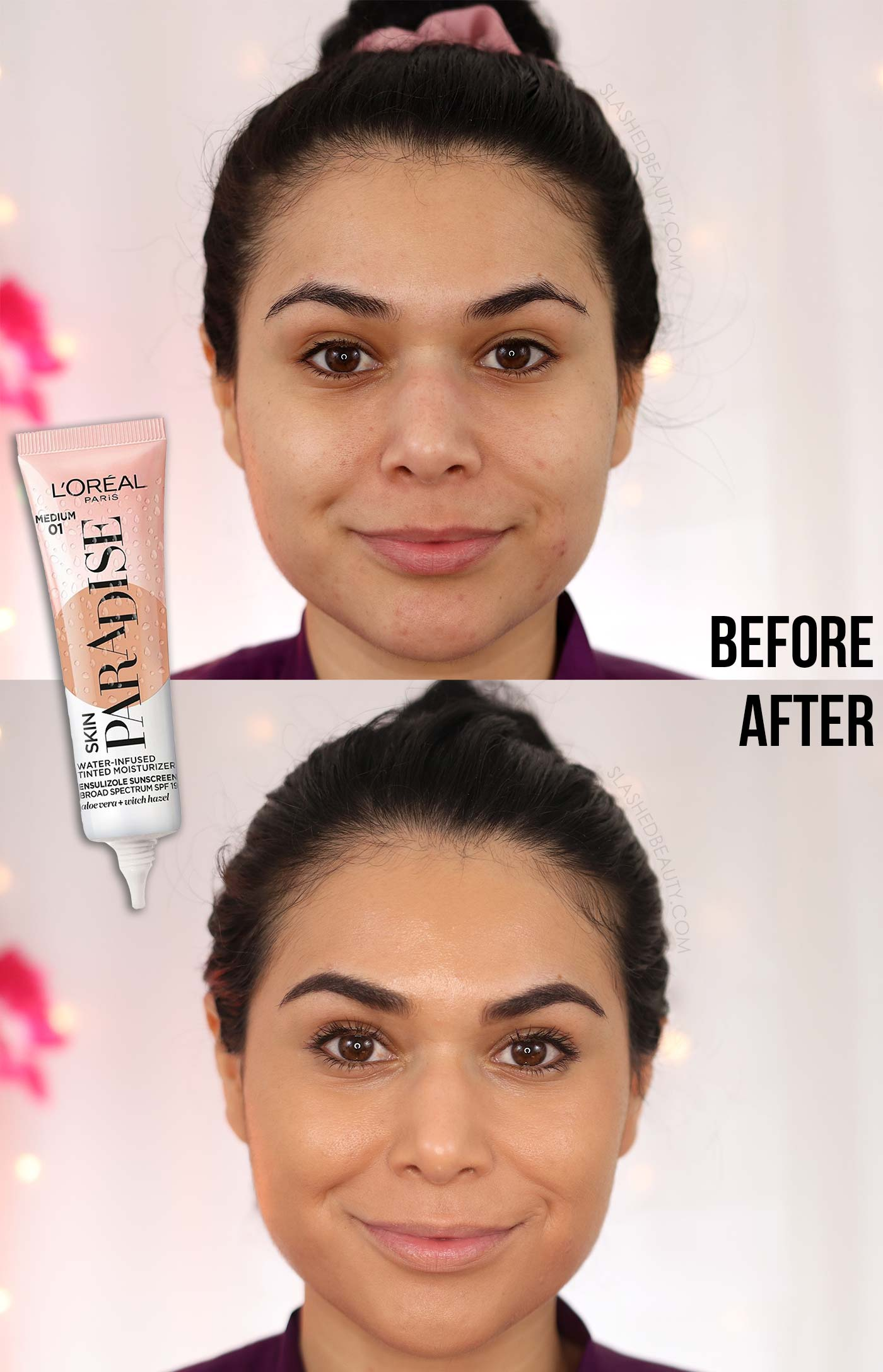 REVIEW: L'Oreal Skin Paradise Water Infused Tinted Moisturizer for Combo Skin | Before and After | Slashed Beauty
