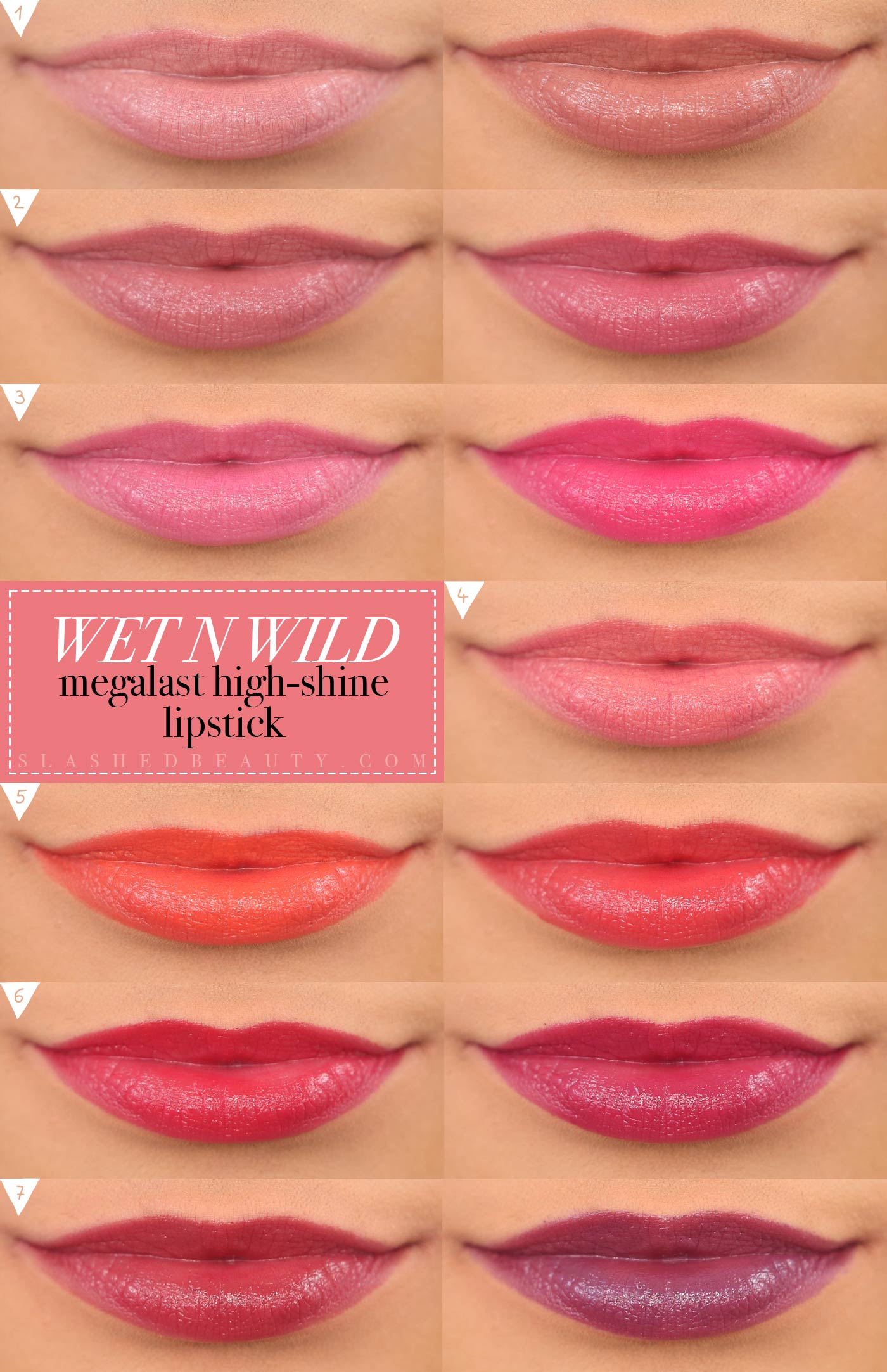 Wet n Wild Megalast High-Shine Lipsticks Swatches Full Collection | Shiny Drugstore Lipsticks | Slashed Beauty