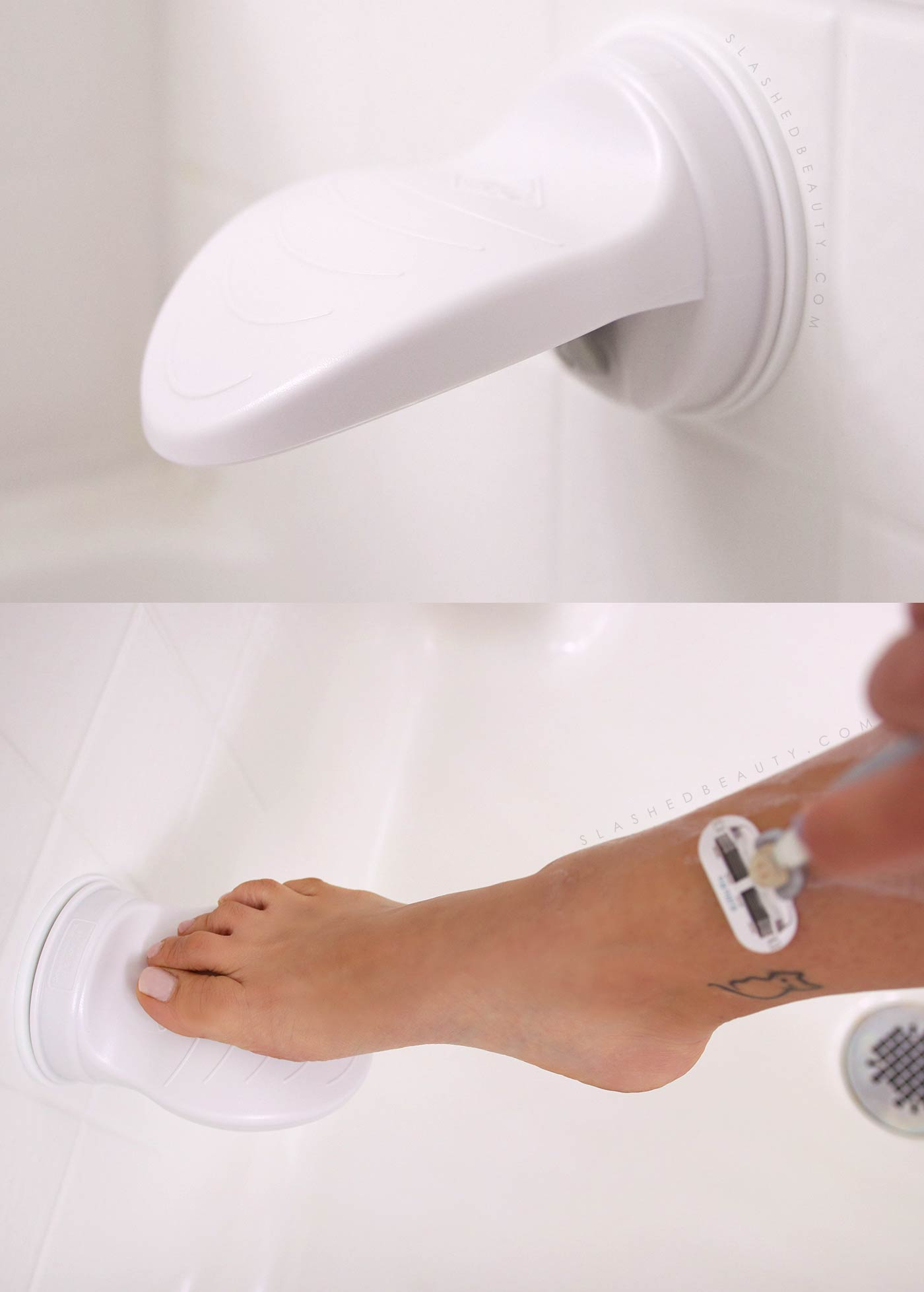 Suction Cup Foot Rest for Shaving in Small Shower | 3 Must-Have Shower Accessories for Small Spaces from Amazon | Slashed Beauty