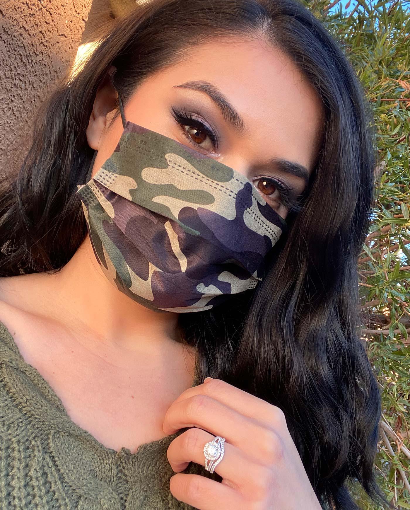 MASKC Disposable Camo Print Face Mask | 2021 Essentials Giveaway: Masks, Makeup & Amazon Gift Card! | Slashed Beauty