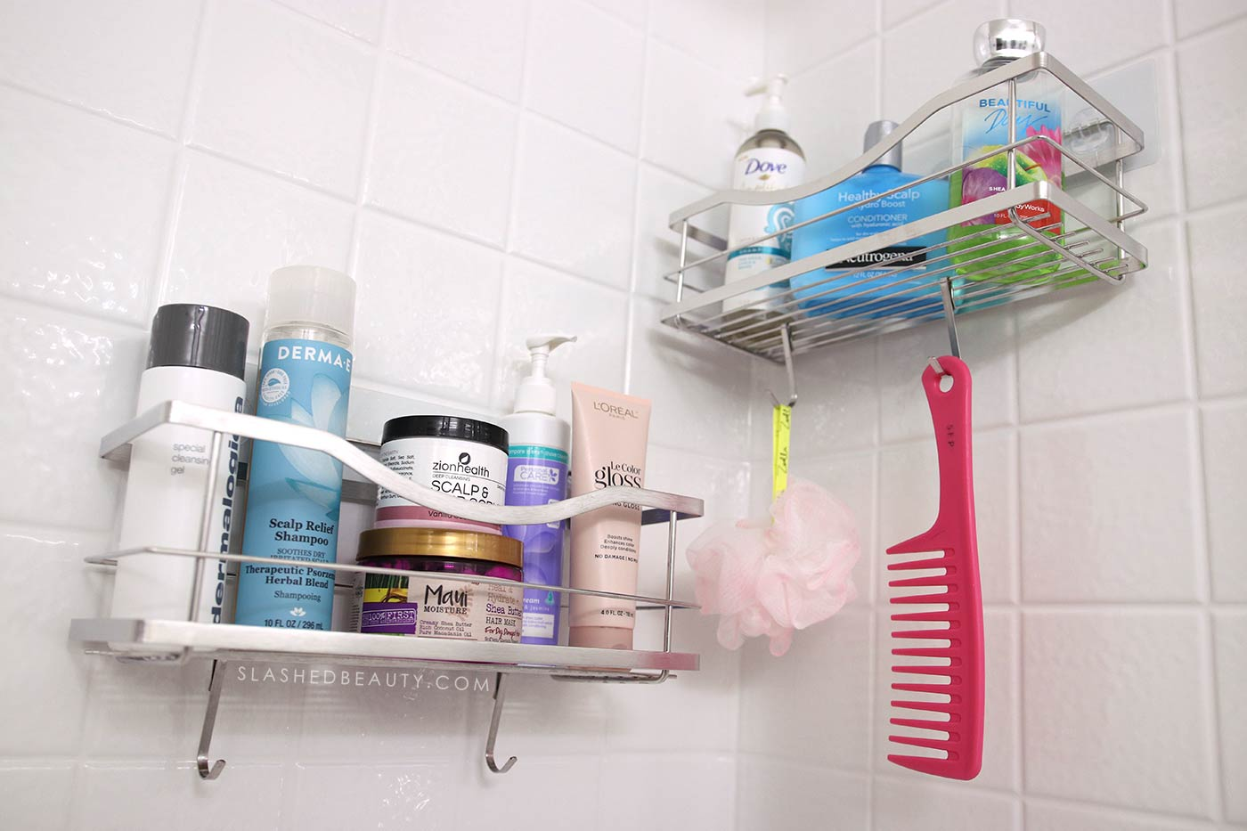 Best Stick On Shower Shelves Shower Caddy for Small Shower | 3 Must-Have Shower Accessories for Small Spaces from Amazon | Slashed Beauty