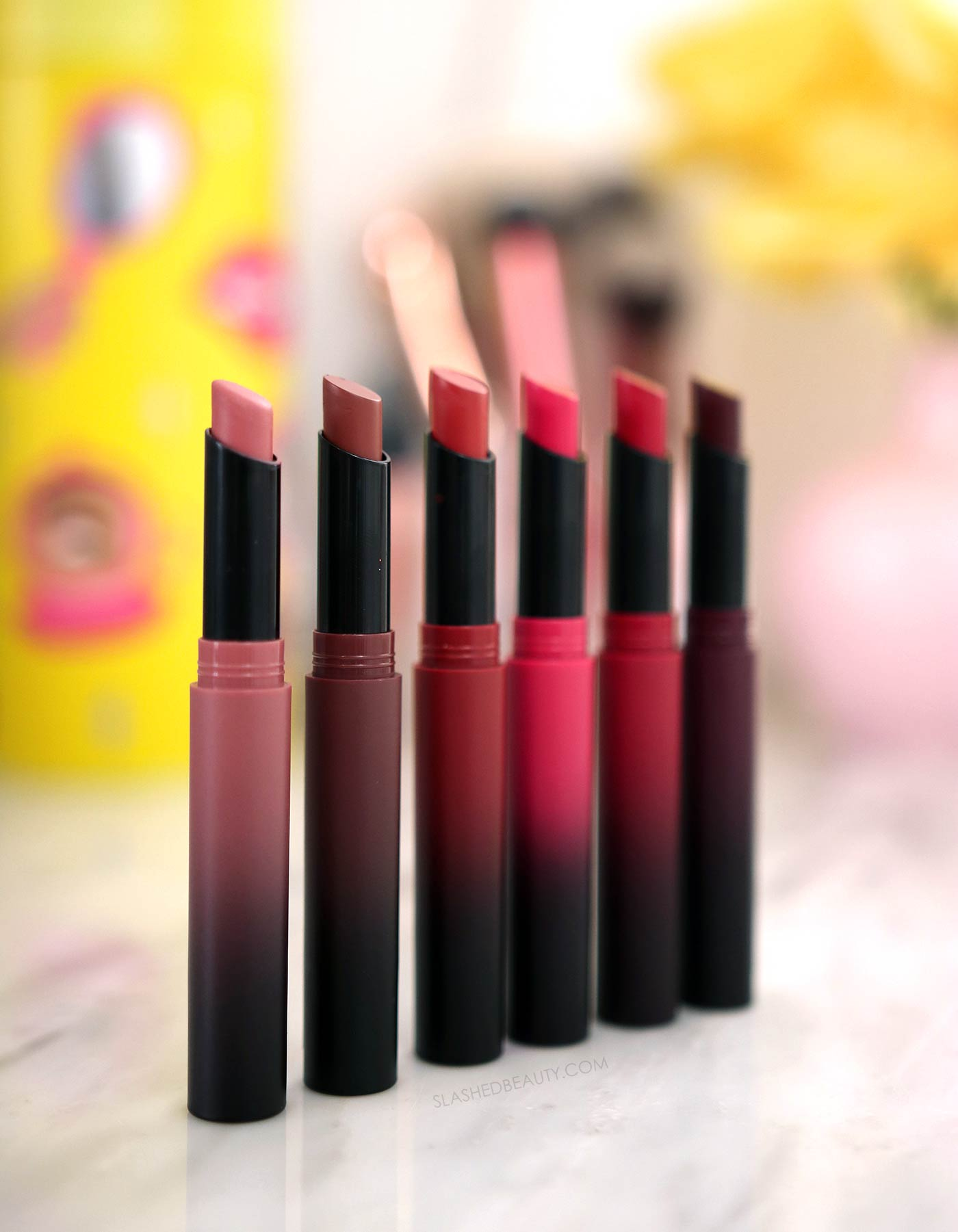 Maybelline Ultimatte Slim Lipsticks Review | Drugstore Matte Lipsticks | More Buff, More Truffle, More Rust, More Magenta, More Ruby, More Berry | Slashed Beauty