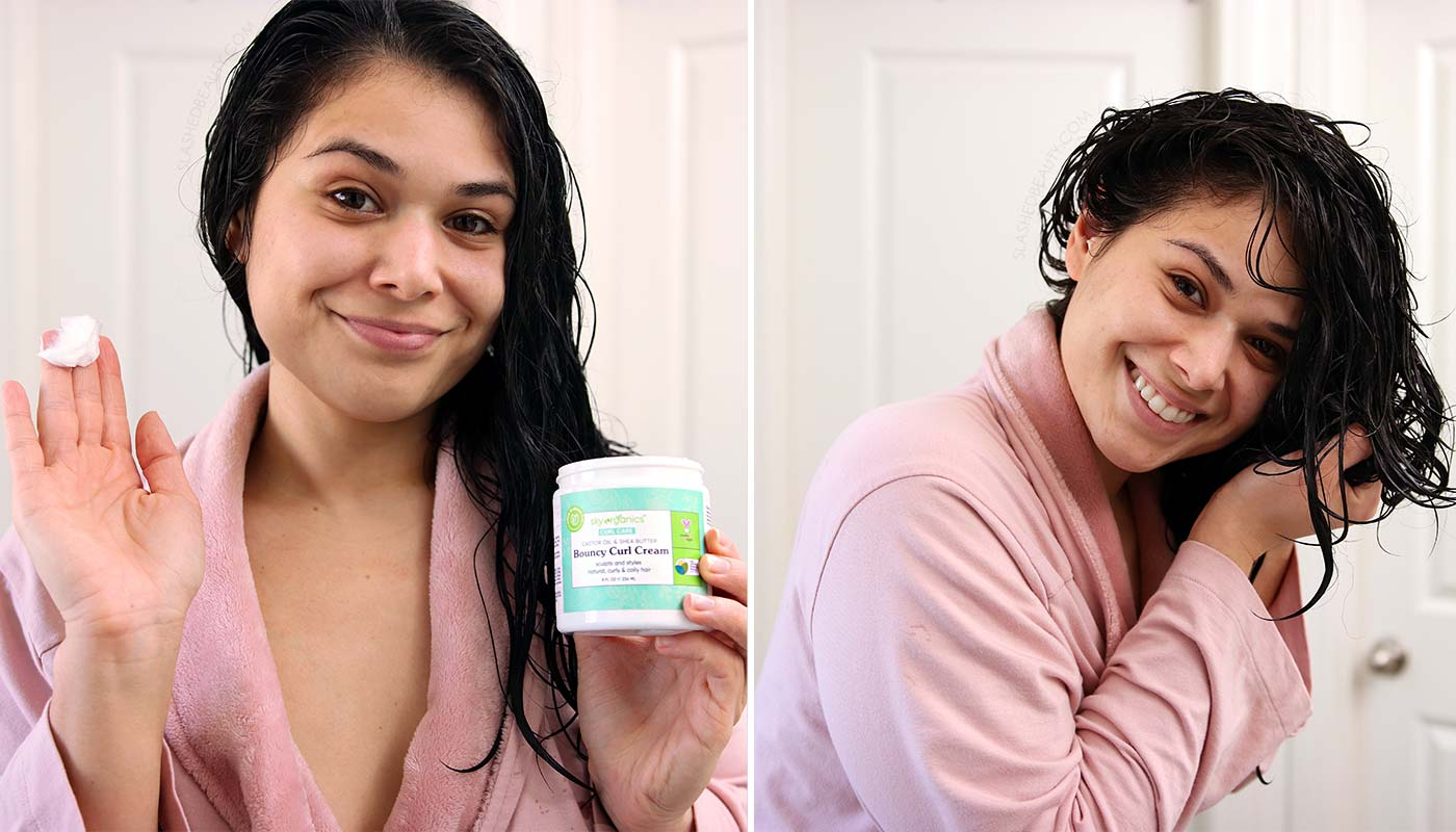 Drugstore Curly Hair Routine using Sky Organics Bouncy Curl Cream   Slashed Beauty
